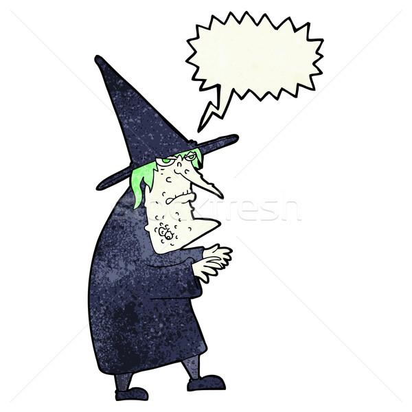Cartoon lelijk oude heks tekstballon hand Stockfoto © lineartestpilot