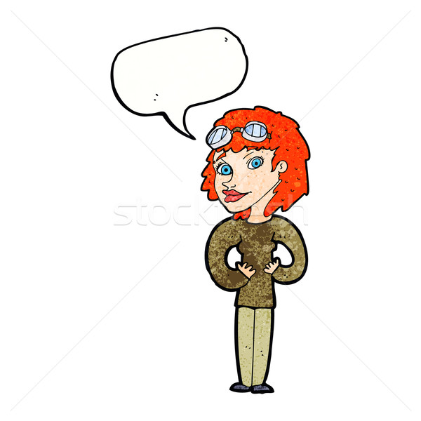cartoon aviator woman with speech bubble Stock photo © lineartestpilot