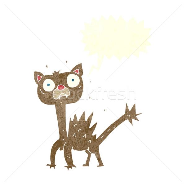 Cartoon paura cat fumetto mano design Foto d'archivio © lineartestpilot