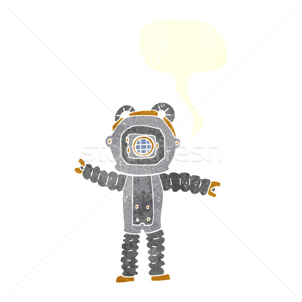cartoon deep sea diver with speech bubble Stock photo © lineartestpilot