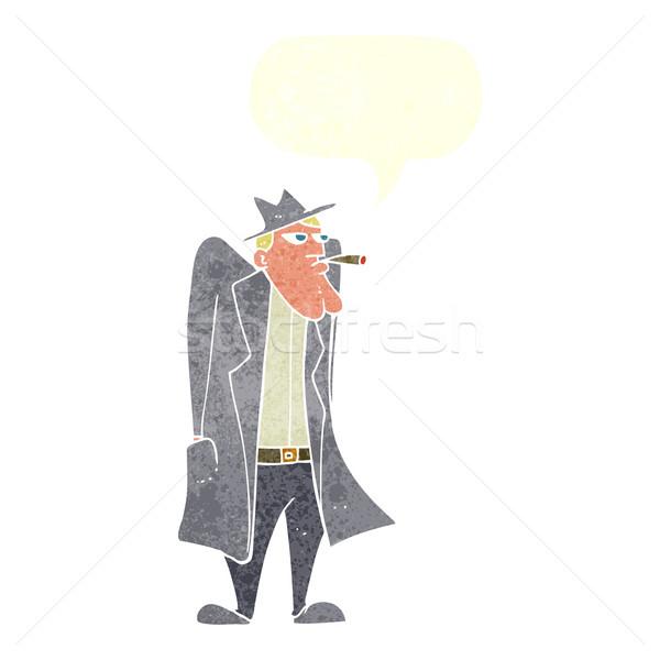 Cartoon человека Hat окоп пальто речи пузырь Сток-фото © lineartestpilot