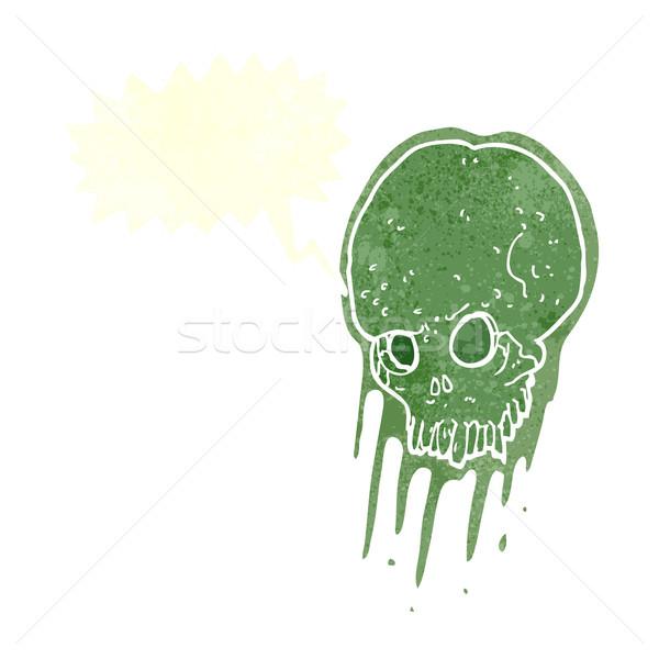 Cartoon слизистый череп речи пузырь стороны дизайна Сток-фото © lineartestpilot