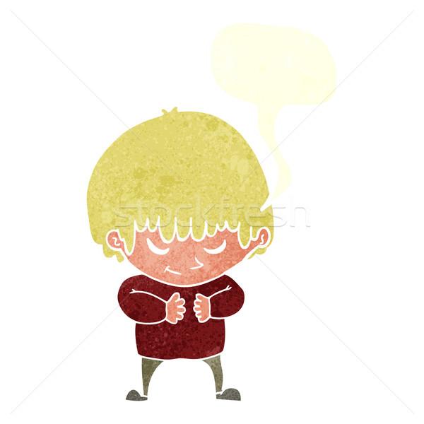 Rajz félénk fiú szövegbuborék kéz boldog Stock fotó © lineartestpilot