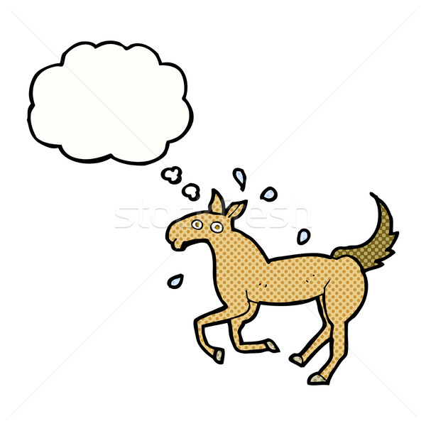 cartoon horse sweating with thought bubble Stock photo © lineartestpilot