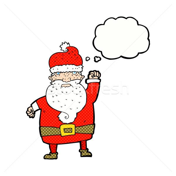 Cartoon сердиться Дед Мороз мысли пузырь стороны дизайна Сток-фото © lineartestpilot