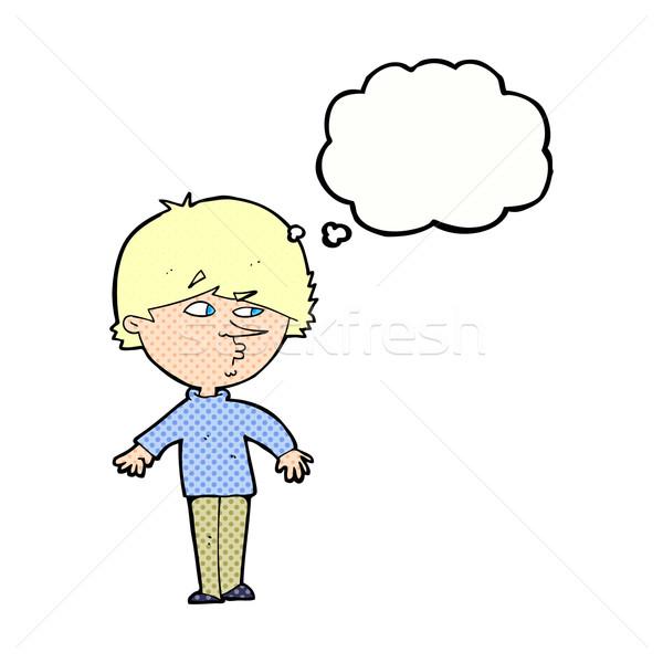 Cartoon suspectes homme regarder épaule bulle de pensée Photo stock © lineartestpilot
