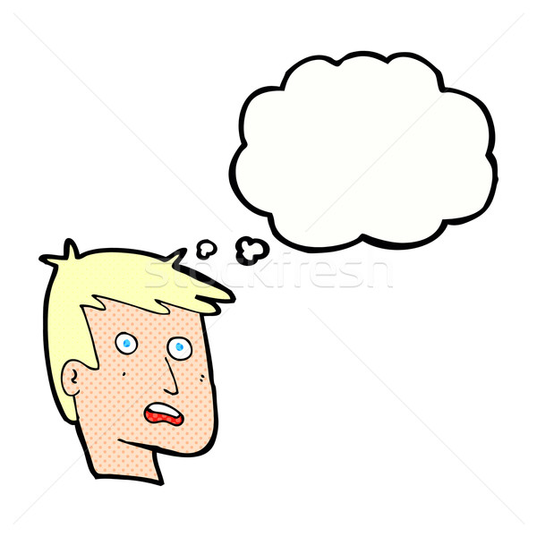 cartoon unhappy face with thought bubble Stock photo © lineartestpilot