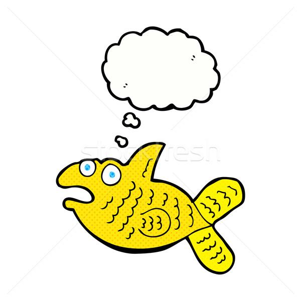 Desenho animado peixe balão de pensamento mão projeto louco Foto stock © lineartestpilot