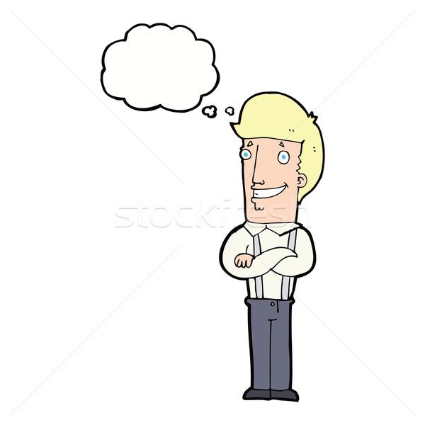 Cartoon orgoglioso uomo bolla di pensiero mano design Foto d'archivio © lineartestpilot