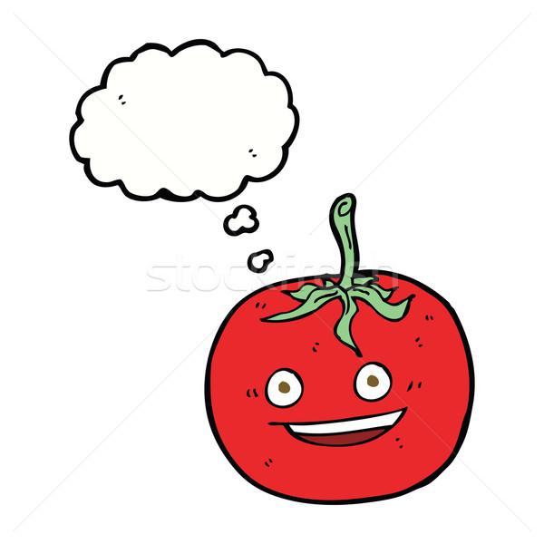 Cartoon tomaat gedachte bel voedsel hand ontwerp Stockfoto © lineartestpilot