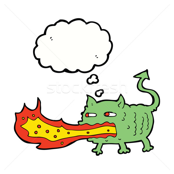 cartoon fire breathing imp with thought bubble Stock photo © lineartestpilot