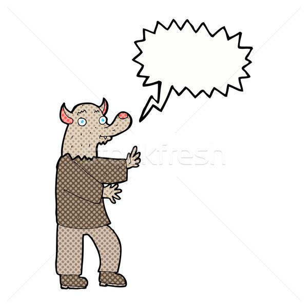 漫画 狼 吹き出し 手 デザイン 芸術 ストックフォト © lineartestpilot