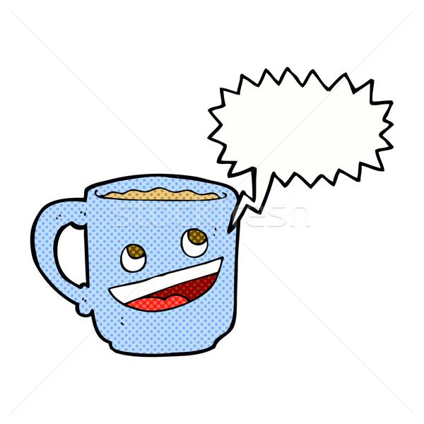 Cartoon koffiemok tekstballon hand koffie ontwerp Stockfoto © lineartestpilot