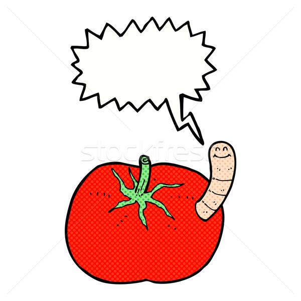 Foto stock: Desenho · animado · tomates · verme · balão · de · fala · mão · projeto