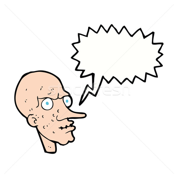cartoon evil old man with speech bubble Stock photo © lineartestpilot
