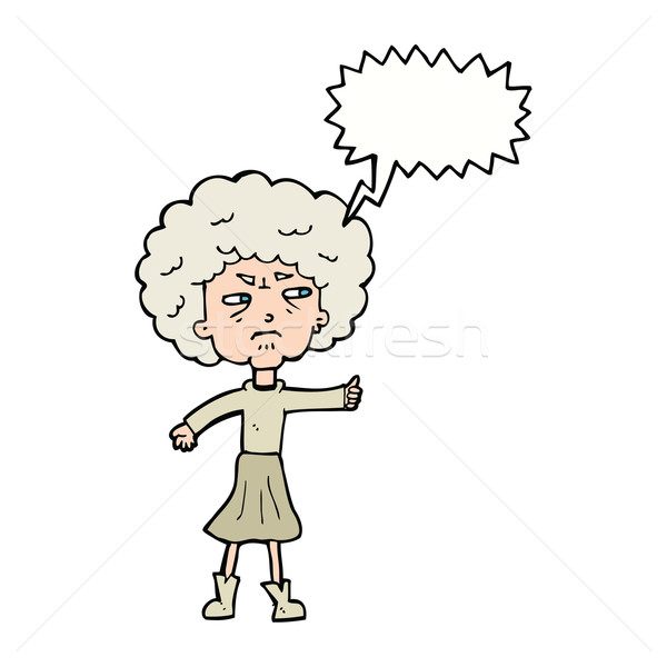 cartoon annoyed old woman with speech bubble Stock photo © lineartestpilot