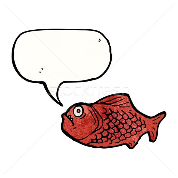 Desenho animado piranha falante retro desenho bonitinho Foto stock © lineartestpilot