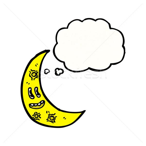 Rajz félhold arc hold beszél retro Stock fotó © lineartestpilot