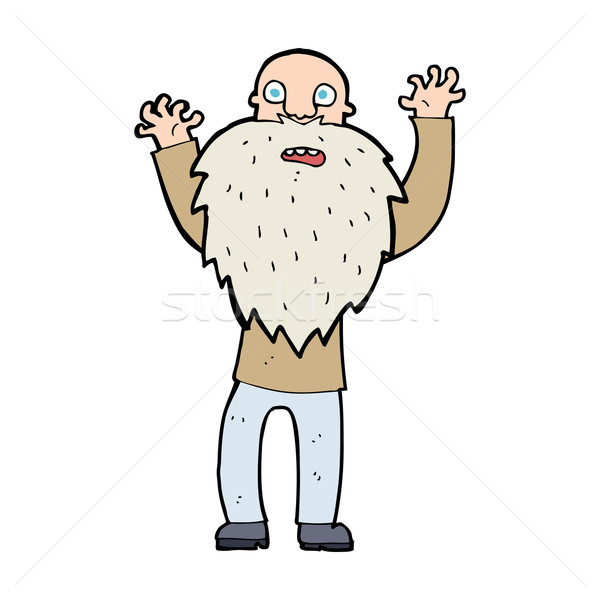 cartoon frightened old man with beard Stock photo © lineartestpilot