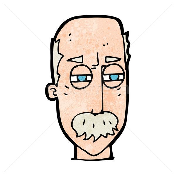 Karikatür rahatsız yaşlı adam el yüz adam Stok fotoğraf © lineartestpilot