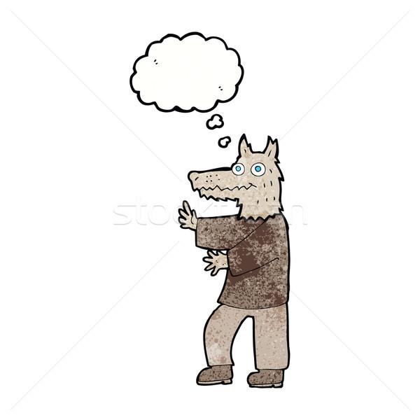 漫画 面白い 狼 思考バブル 手 男 ストックフォト © lineartestpilot