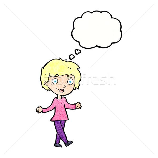 Cartoon confundirse mujer burbuja de pensamiento mano diseno Foto stock © lineartestpilot