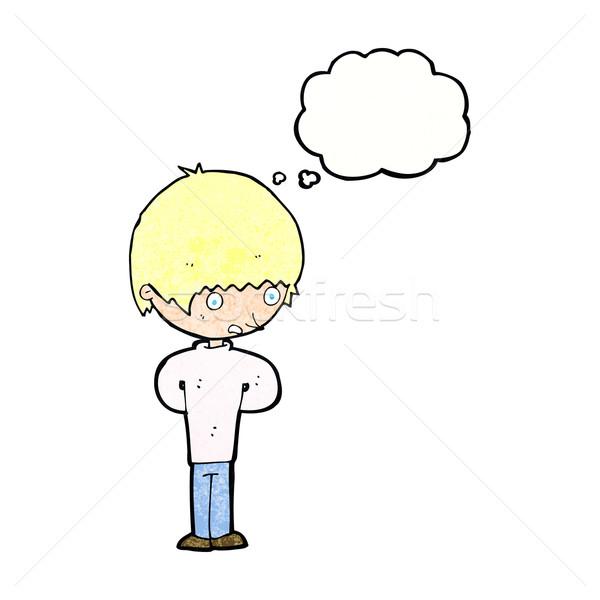 Cartoon нервный мальчика мысли пузырь стороны человека Сток-фото © lineartestpilot
