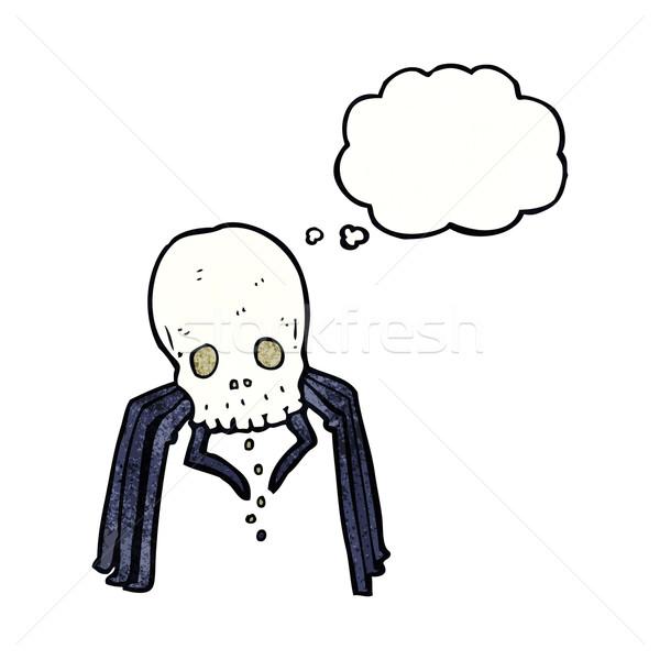 Desenho animado assustador crânio aranha balão de pensamento mão Foto stock © lineartestpilot