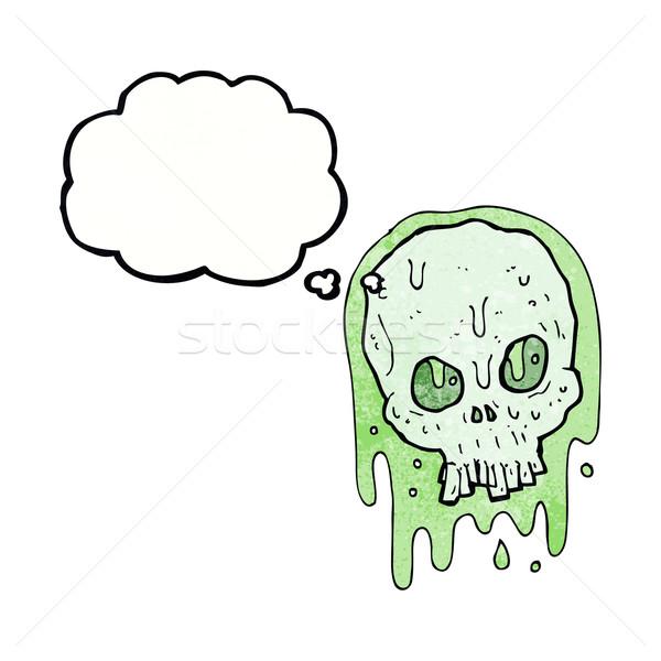 Karikatür sümüksü kafatası düşünce balonu el dizayn Stok fotoğraf © lineartestpilot