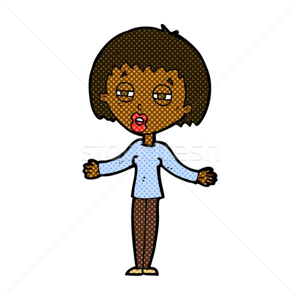 comic cartoon suspicious woman Stock photo © lineartestpilot