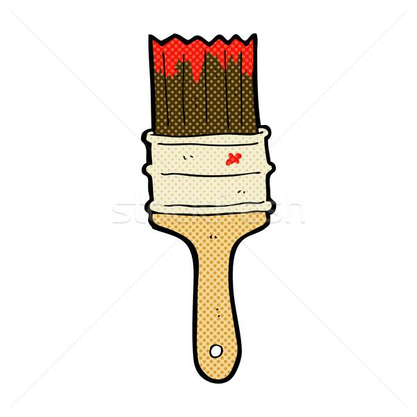 Cômico desenho animado paint brush retro estilo Foto stock © lineartestpilot