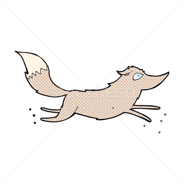 Fumetto cartoon lupo esecuzione retro Foto d'archivio © lineartestpilot