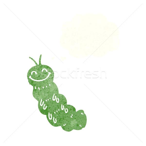 Cartoon Caterpillar мысли пузырь стороны дизайна Crazy Сток-фото © lineartestpilot