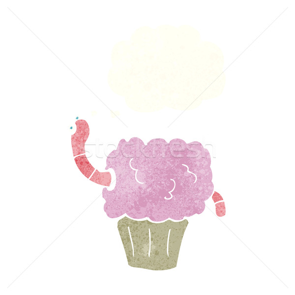 cartoon worm in cupcake with thought bubble Stock photo © lineartestpilot