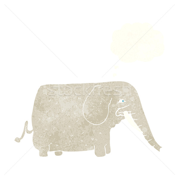Cartoon большой слон мысли пузырь стороны дизайна Сток-фото © lineartestpilot