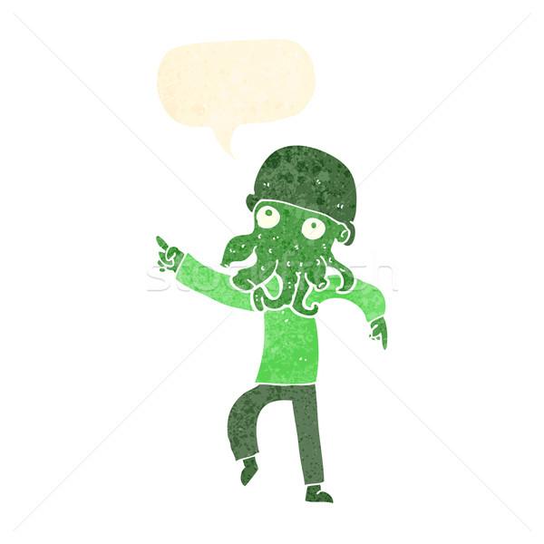 Desenho animado alienígena homem dança balão de fala mão Foto stock © lineartestpilot
