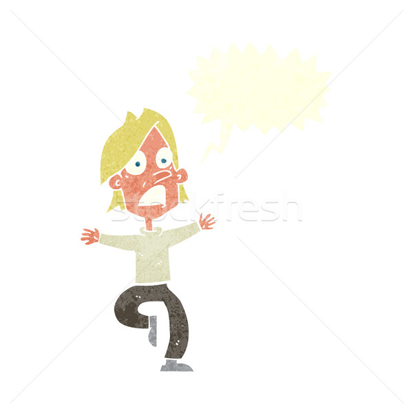 cartoon panicking man with speech bubble Stock photo © lineartestpilot