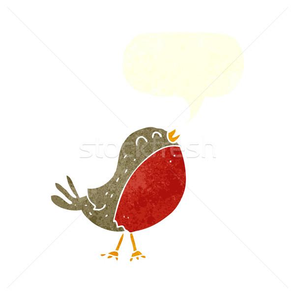 cartoon christmas robin with speech bubble Stock photo © lineartestpilot
