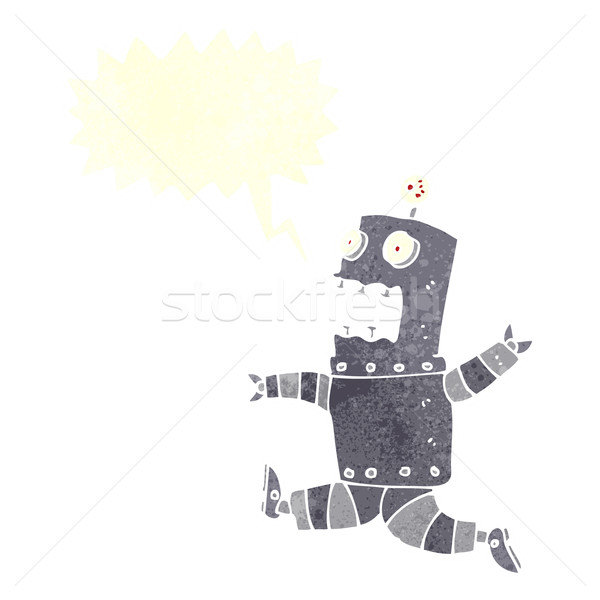 cartoon terrified robot with speech bubble Stock photo © lineartestpilot