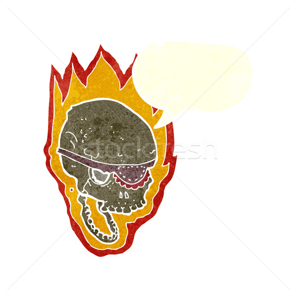 cartoon flaming pirate skull with speech bubble Stock photo © lineartestpilot