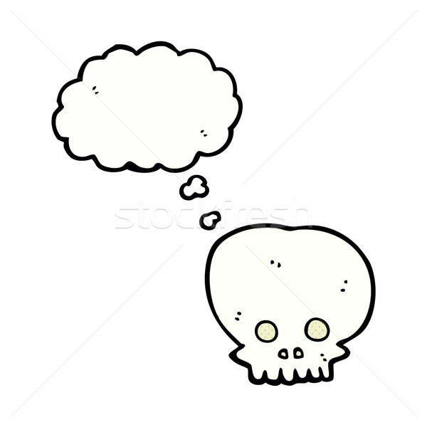 cartoon spooky skull symbol with thought bubble Stock photo © lineartestpilot