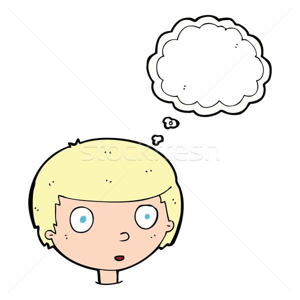Cartoon любопытный мальчика мысли пузырь стороны лице Сток-фото © lineartestpilot