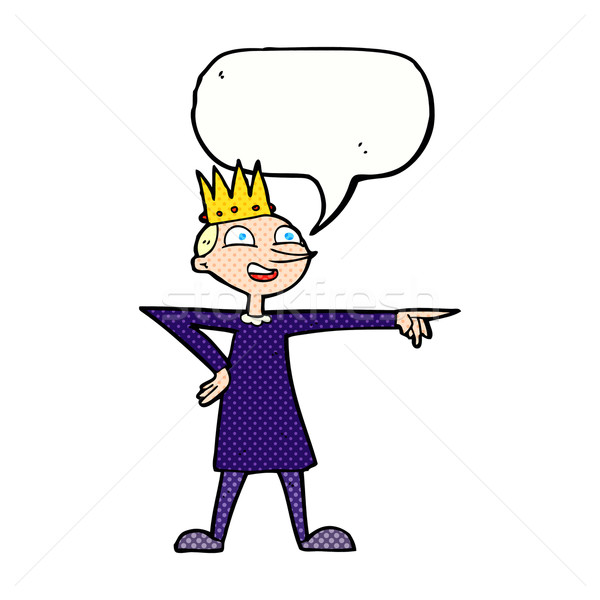 cartoon pointing prince with speech bubble Stock photo © lineartestpilot