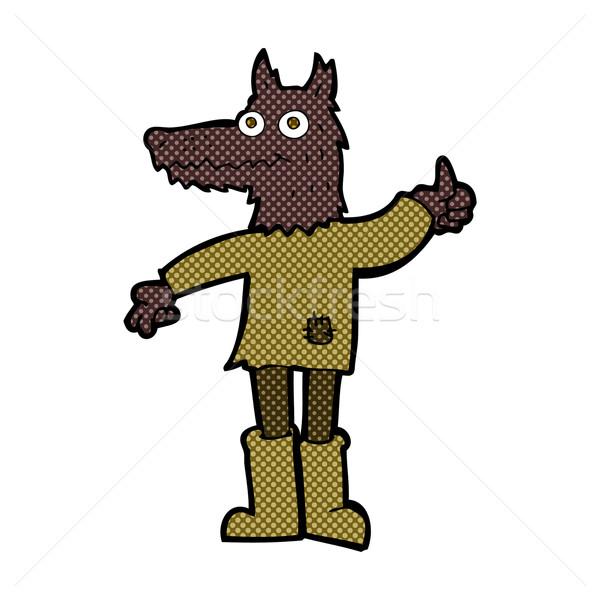 Képregény rajz farkas férfi retro képregény Stock fotó © lineartestpilot