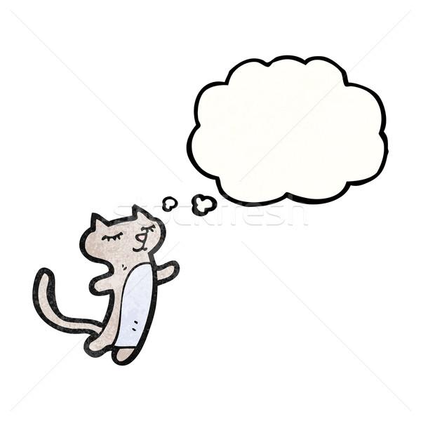 Karikatür kedi düşünce balonu versiyon doku el Stok fotoğraf © lineartestpilot