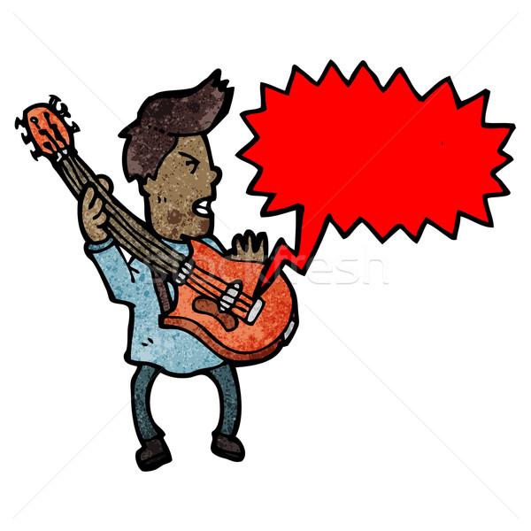Cartoon gitarist man gitaar praten retro Stockfoto © lineartestpilot