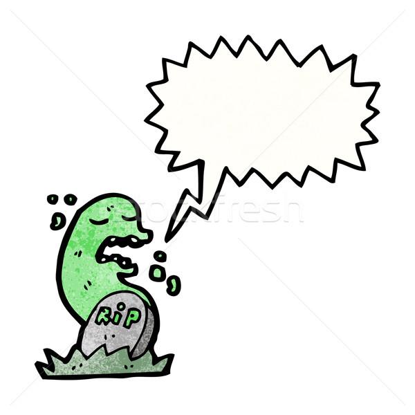 Foto stock: Assustador · fantasma · desenho · animado · falante · retro · desenho