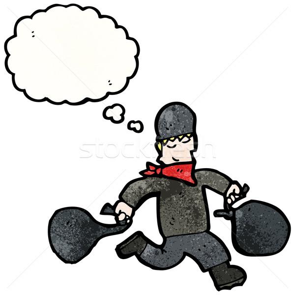 Karikatür banka soyguncu konuşma Retro düşünme Stok fotoğraf © lineartestpilot