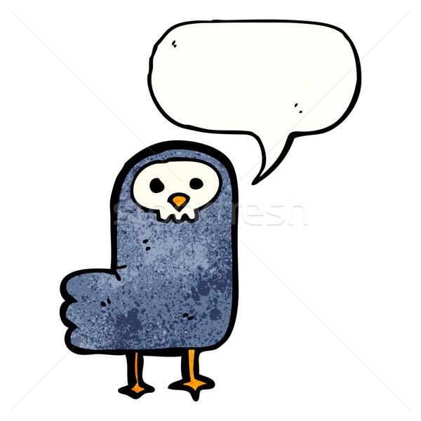 Karikatür kuzgun kuş konuşma Retro Stok fotoğraf © lineartestpilot