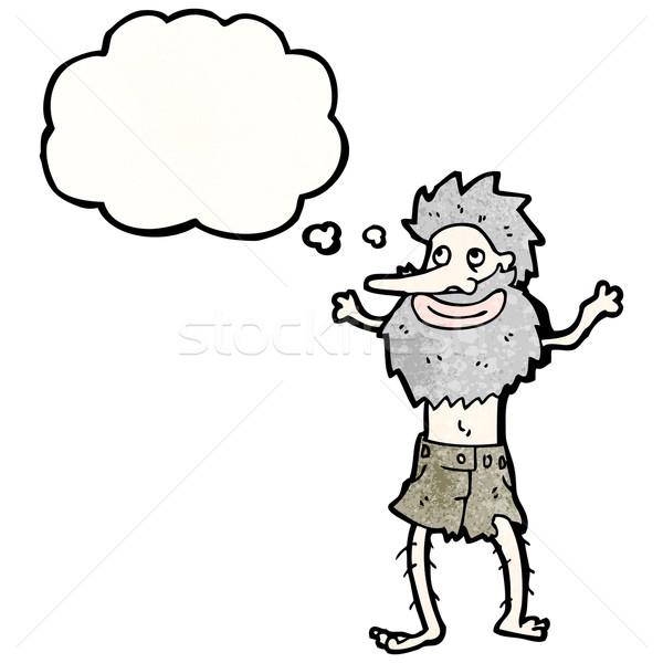 Yaşlı adam adam konuşma Retro düşünme çılgın Stok fotoğraf © lineartestpilot